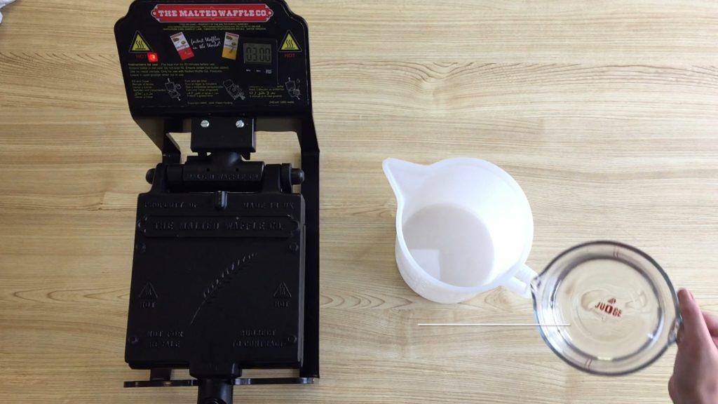 Equipment needed to make waffle.