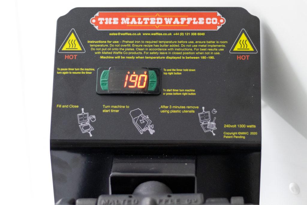 MWC digital waffle machine display.